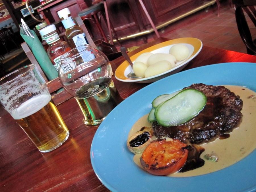 Elk/moose pattie with lingon, potatoes, tomato and that crazy Swedish gravy