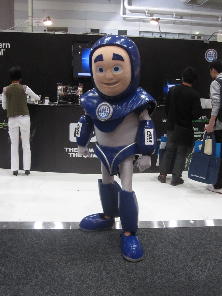 Giant characters selling something at CeBIT
