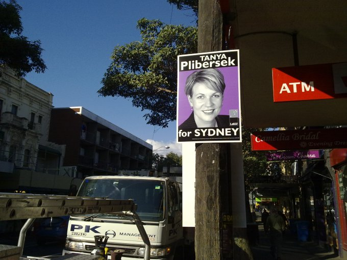 The first campaign poster of the election in my area of Surry Hills