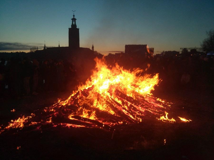 Valborg bonfire in Stockholm