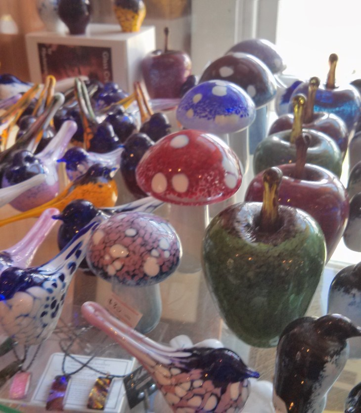 Arts and crafts at The Mill, including glass apples which later became trophies in the ABC Local Radio Awards held in Hobart.