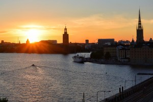 Sunset at about 9.20pm in Stockholm, as viewed from the Hilton Hotel