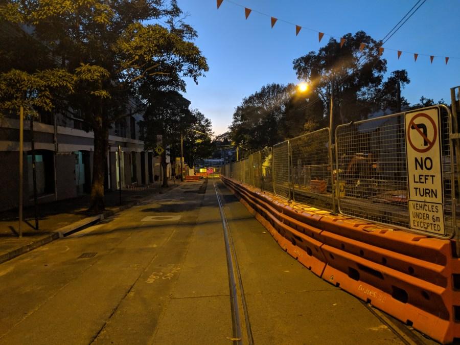 Light rail construction, Devonshire Street, Surry Hills