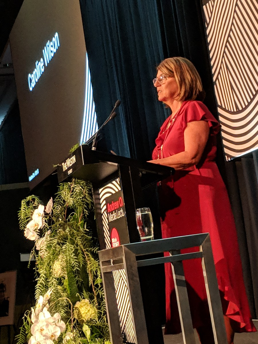 Carole Wilson delivers the Andrew Olle Media Lecture