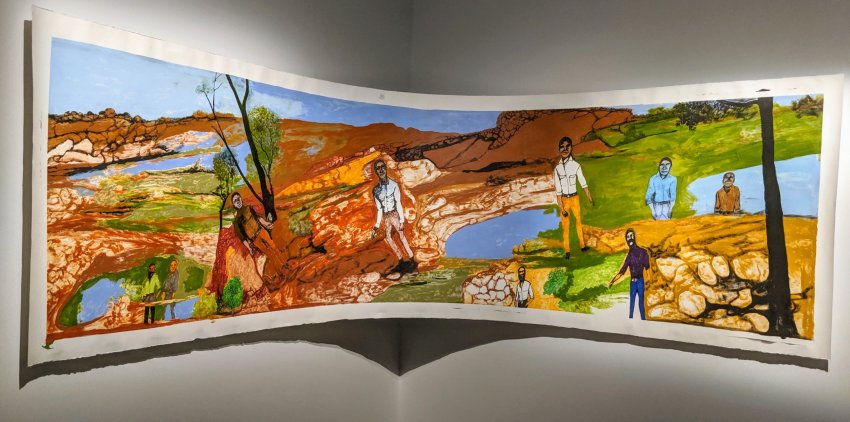 Nyaparu (William) GARDINER (dec.) Nyangumarta/Warnman/Manjilyjarra languages South Hedland, WA ​ Our Old People 2018 synthetic polymer paint, lead pencil and ink on paper 114 x 300 x 90 cm