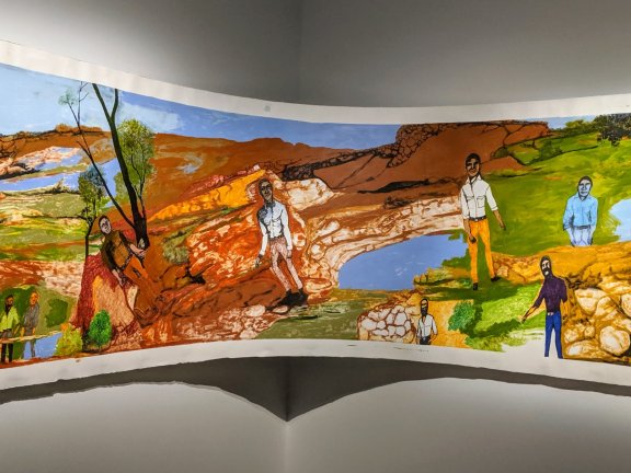 Nyaparu (William) GARDINER (dec.) Nyangumarta/Warnman/Manjilyjarra languages South Hedland, WA  Our Old People 2018 synthetic polymer paint, lead pencil and ink on paper 114 x 300 x 90 cm