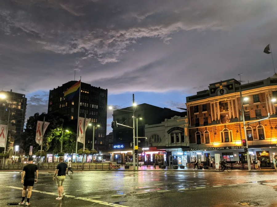 Storm clouds over Taylor Square, Sydney