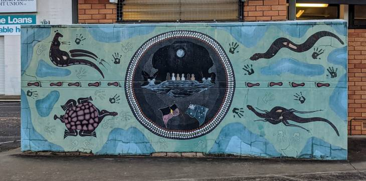 The public toilet in the Brown's Creek Car Park gets a new look, thanks to some awesome public art.