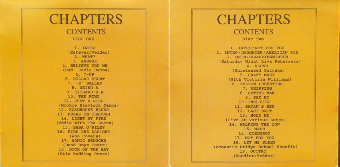 Pearl Jam Chapters inner