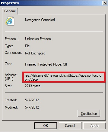 Lync Server Control Panel - Navigation to the webpage was canceled (2/6)
