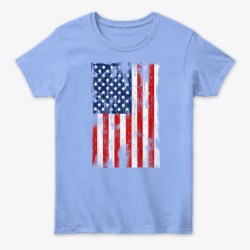 American Flag Grunge Style Light Blue T-Shirt Front