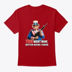 Uncle Sam & Molon Labe  Deep Red T-Shirt Front