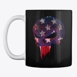 American Flag Punisher (Front / Bk) Black T-Shirt Front