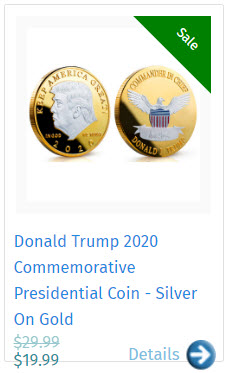 Donald Trump 2020 Commemorative Presidential Coin - Silver On Gold