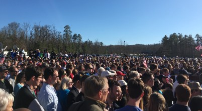 Crowds flooded into the James River swamp by the thousands, some with curiosity and others to see the candidate that they hope will become America's next president. Photo by Mikayla Grumiaux