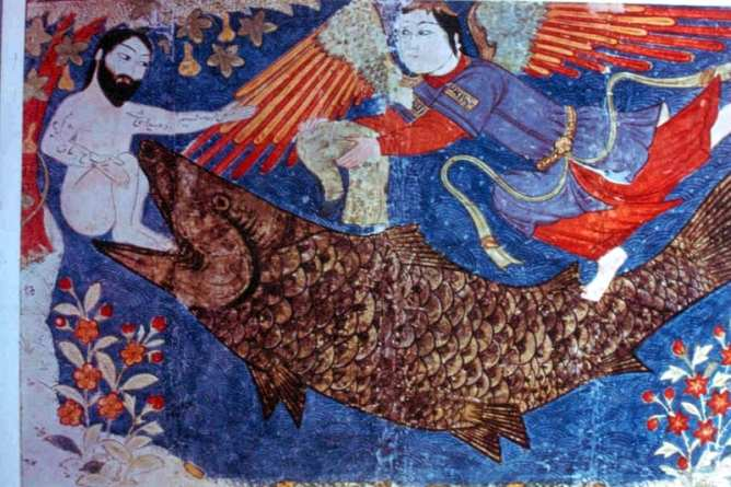 Image of Jonah Naked Receiving his White Robes of Resurrection & Rebirth c. 1425 (Metropolitan Museum of Art)