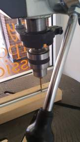 The drill press in action.