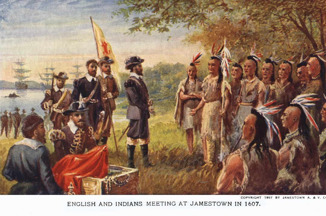 06PCJamestown Exposition00011 - English and Indians meeting at Jamestown copy
