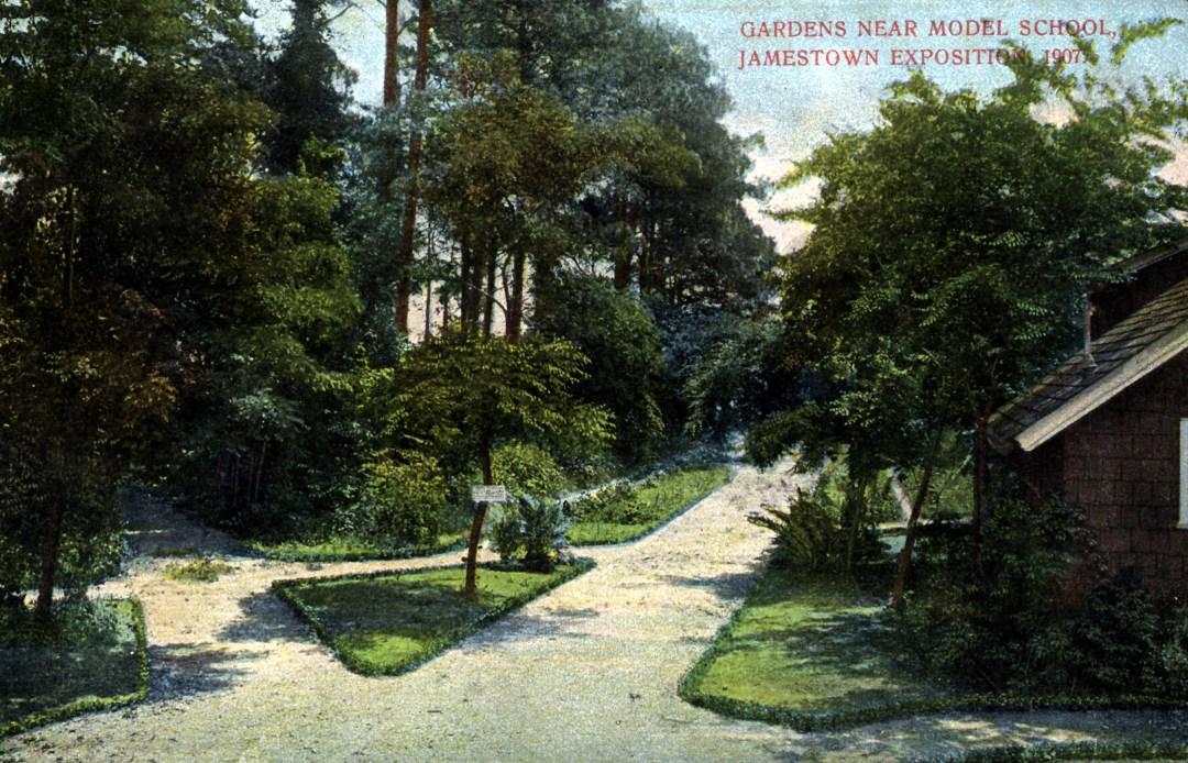 06PCJamestown Exposition00032 - Gardens Near Model School copy
