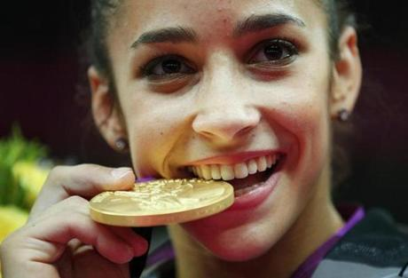Aly Raisman, who won gold earlier this week at the 2012 Olympics with the rest of the U.S. Gymnastics Team, is one of several gymnasts who will be in Jamestown in December. (photo source: www.bostonglobe.com)
