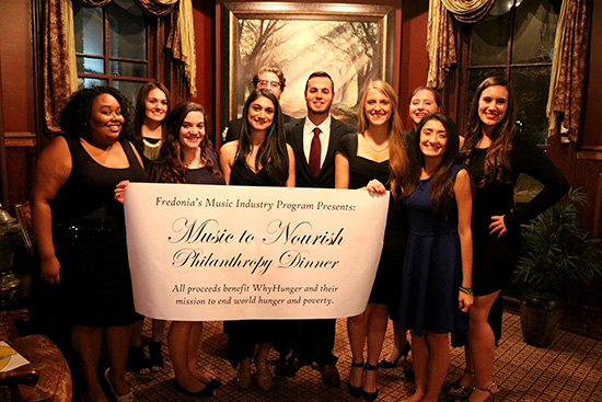 Students from Fredonia's Music Industry program raised over $3,000 to benefit the not-for-profit WhyHunger in December. The academic program, which exceeded 160 enrolled students as of Fall 2015, has been upgraded to a full-scale major, compared to its previous concentration status, by the state education department and SUNY Board of Trustees.