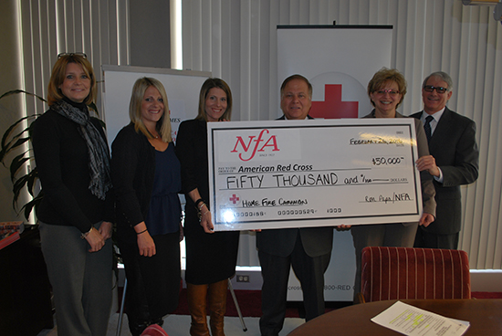 (L to R):  Joanne Harrell, Director of Special Operations, NFA; Jodie Papa, Manager, NFA; Kelly Papa, Office Manager, NFA; Ronald Papa, President and CEO, NFA; Rosie Taravella, Western and Central NY Regional CEO, American Red Cross; and huck Marra, Western New York Chapter Executive, American Red Cross.