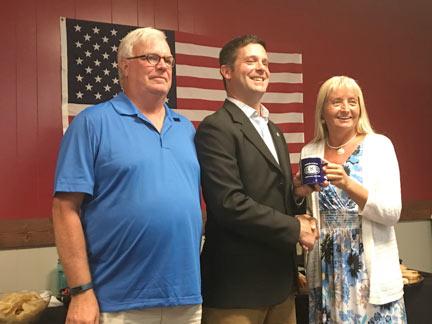 (L to R): Andy Alpaugh, Kiwanis Treasurer; John Plumb, Candidate for Congress; and Wendy Wilcox, Kiwanis President