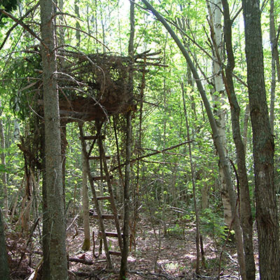Here's a D-I-Y treestand that's effective and inexpensive, but it's not a quick build and the weather will be hard on it – as it will be on any homemade treestand. Few hunters are willing to put in the time it takes to construct and maintain a homemade stand. Photo by Steve Sorensen