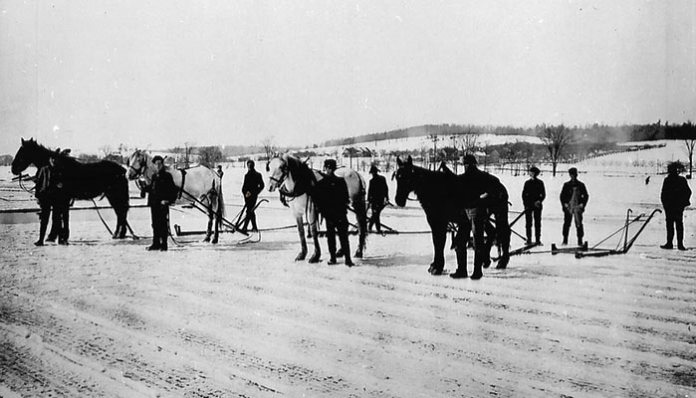 """An image of Ice Harvesting on Chautauqua Lake, provided by Fletcher """"Ned"""" Ward, who will deliver a lecture on the topic on Saturday morning, Nov. 12 in Dewittville at Camp Onyahsa."""