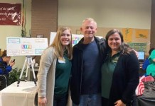 Students in the Jamestown Community College Occupational Therapy Assistant Program presented a Healthy Habits Wellness Fair at the Mental Health Association (MHA) earlier this month. The MHA enjoyed a Thanksgiving dinner at their November Recovery Luncheon and look forward to Giving Tuesday on December 3. Pictured at the Wellness Fair are, from left, Mikaela Gladding, Buddy Carlson, and Kelsey Eddy.