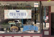 The windowfront of the Chautauqua Soap Co.
