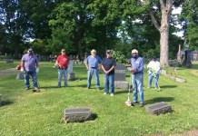 Thanks to the volunteer efforts of some Westfield-Mayville Rotarians, The Westfield Cemetery in Westfield is a bit neater. Helping to trim Weeds, while social distancing, at this cemetery on June 12 were (left to right) Mike Harrington, Doug Richmond, Steve Stratton, Pete Bills, Tom Berkhouse (project chair) and Mary Swanson. Rotarian Janese Berkhouse (not shown) served as the photographer.