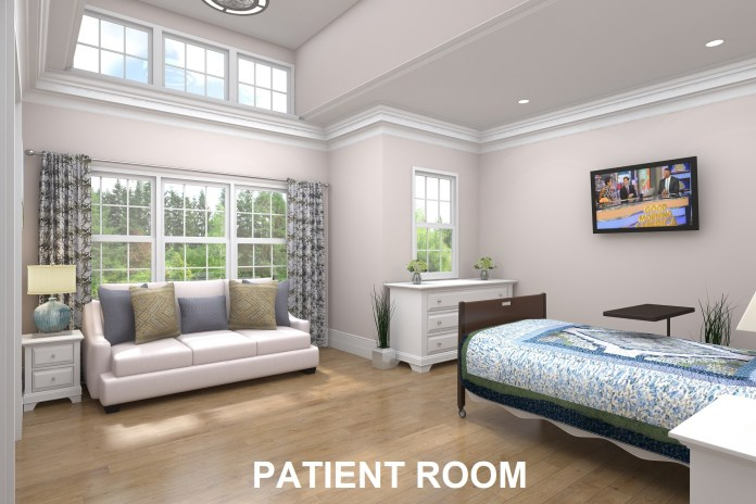 Patient rooms will include hide-away beds for family members.