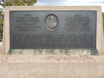 Close-up of the plaque on the Powell Memorial