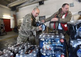 National Guard delivers bottled water to Flint