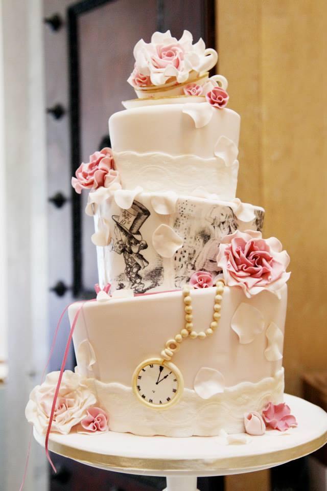 Alice In Wonderland Vintage Tea Party Themed Topsy Turvy Cake