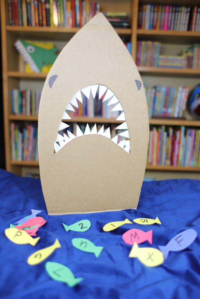 Cardboard Shark. Toddler/Preschooler learning game.