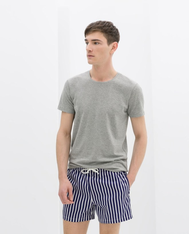 Zara Menswear S/S14 Swimwear Lookbook grey basic t shirt top white blue nautical stripe swim short s