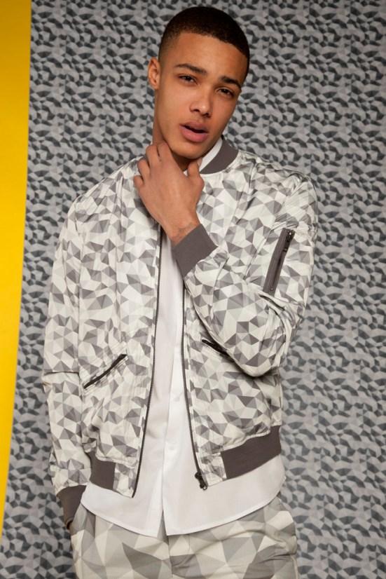 ASOS Black S/S14 Lookbook Geometric Print bomber jacket white shirt geometric print shorts