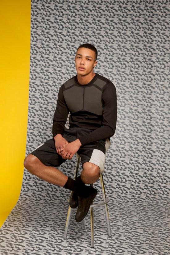 ASOS Black S/S14 Lookbook structured panel detail jumper shorts black leather shoes geometric print