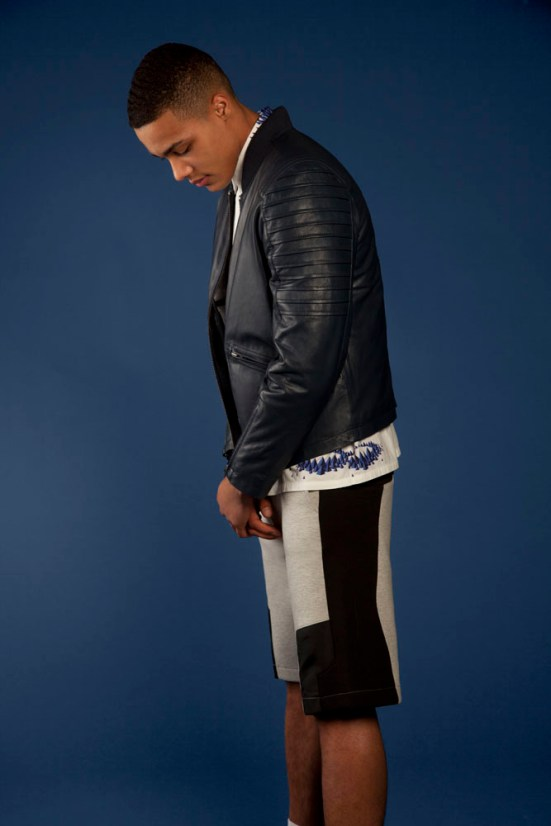 ASOS Black S/S14 Lookbook petrol blue leather jacket panel detail shorts jooggers top menswear mensfashion lookbook collection campaign