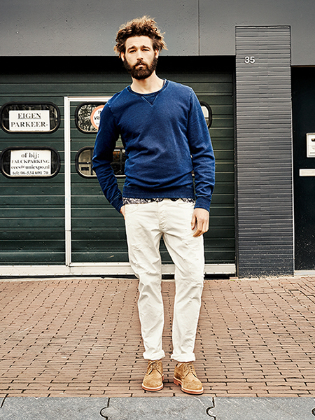 Scotch & Soda S/S14 Amsterdam Blauw Denim Collection White Denim Jeans navy blue sweater printed top