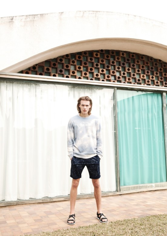 Bershka 'April' Menswear S/S14 Lookbook Update.  printed shorts printed washed out sweater jumper knitwear casual style streetstyle campaign ss14