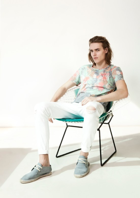 Bershka 'April' Menswear S/S14 Lookbook Update.  dune shoes white denim summer tropical floral print top