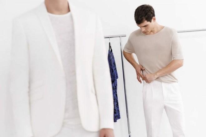 Zara Man S/S14 'May' Lookbook Update. white linen trousers white blazer white linen shirt