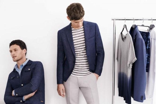 Zara Man S/S14 'May' Lookbook Update. blue denim blazer navy blue shirt top t shirt jumper knitwear