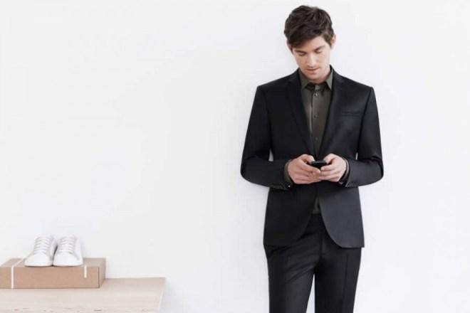 Zara Man S/S14 'May' Lookbook Update. black suit tailoring blazer khaki shirt white trainers