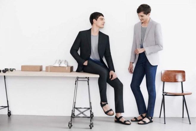 Zara Man S/S14 'May' Lookbook Update. black suit cream suit kahki black sandles