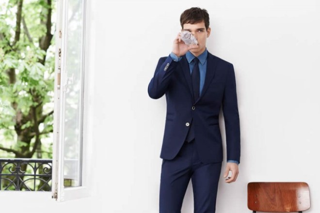 Zara Man S/S14 'May' Lookbook Update. navy blue suit, navy blue shirt tie suiting tailoring blazer