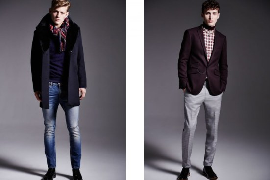 River Island A/W14 Menswear Lookbook coats jackets style fashion accessories shoes scarf denim trousers